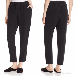 EILEEN FISHER Black Silk Crepe Slouchy Ankle Pant